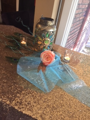 Gold Lantern with Blue and Green Crystal Flower $10