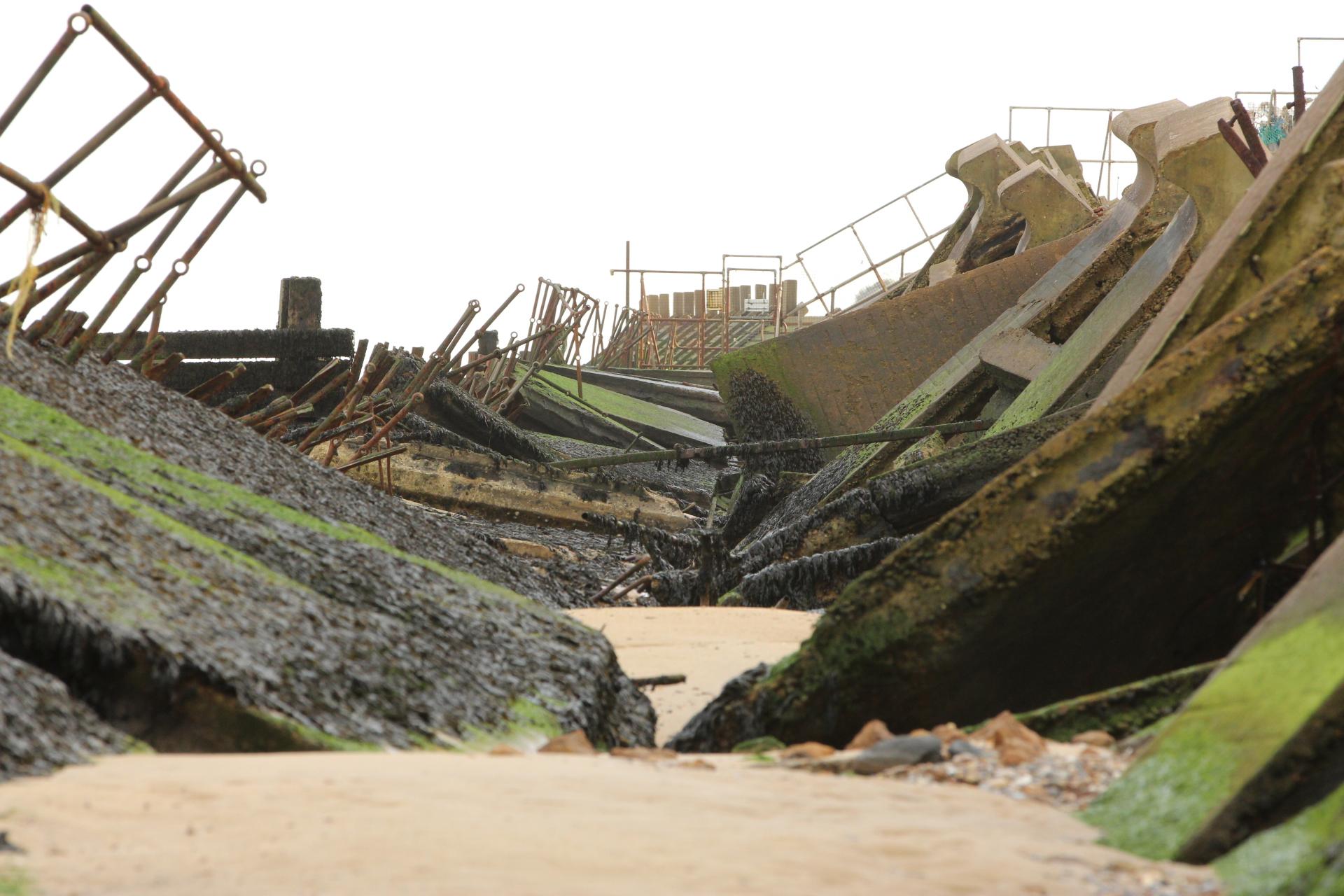 Broken sea defence Corton Suffolk