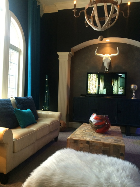 Living Room Black walls with teal curtains
