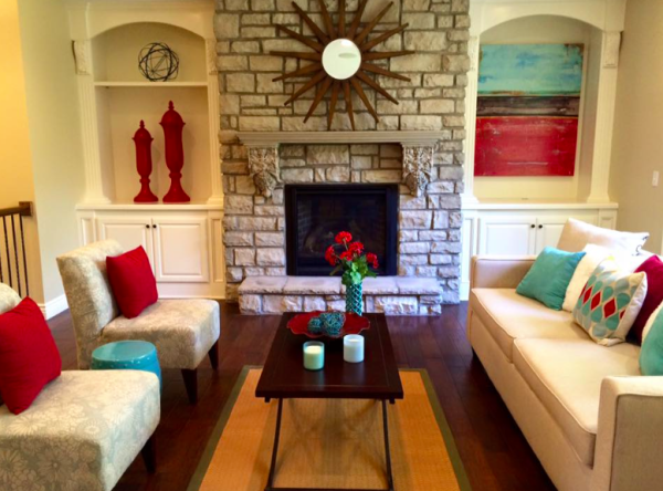 Pops of Red and Turquois Staging
