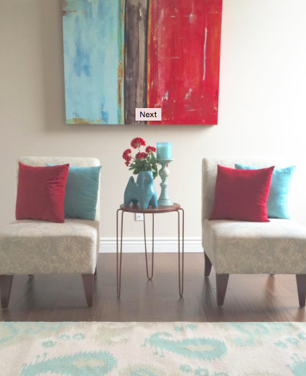 Red and Turquoise Living