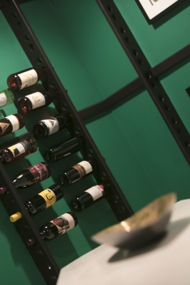 wine bottles in wine rack