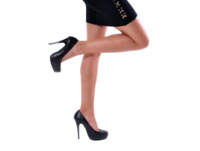 Black pumps on a model