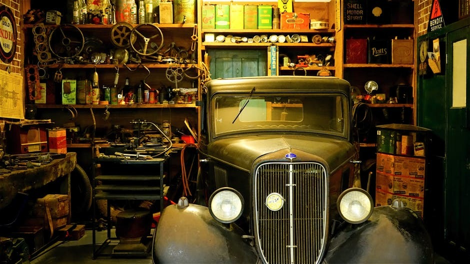 Antique car in a garage