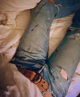 worn pair of jeans