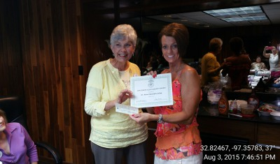 Aug 3, 2015 Award Presented at Chapter Meeting
