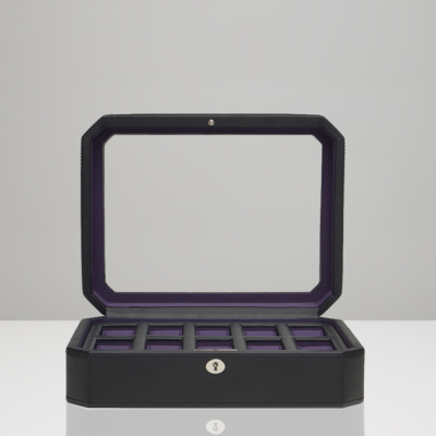 10 PIECE WATCH BOX - BLACK & PURPLE