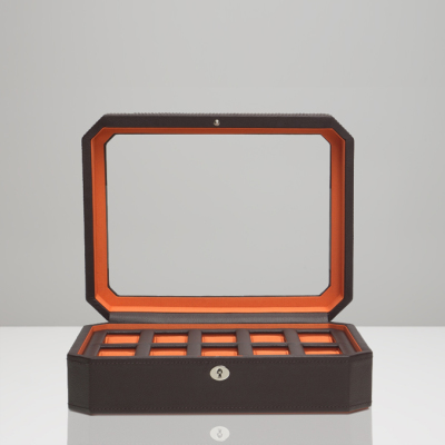 10 PIECE WATCH BOX - ORANGE & BROWN