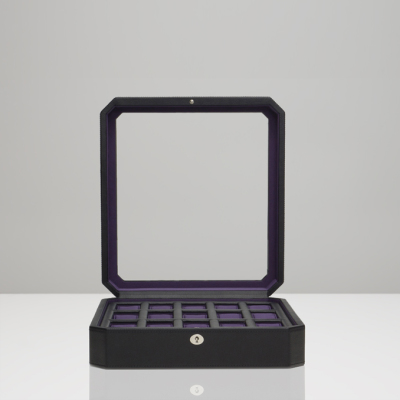 15 PIECE WATCH BOX - BLACK & PURPLE