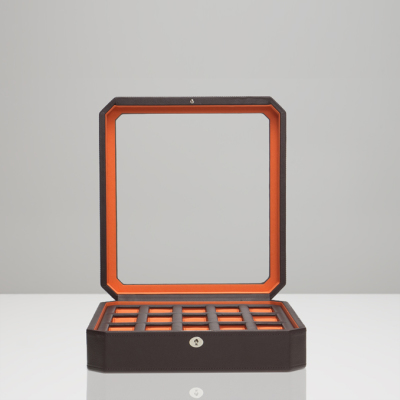 15 PIECE WATCH BOX - BROWN & ORANGE