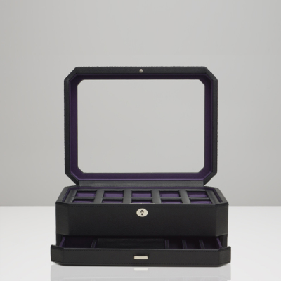 10 PIECE WATCH BOX WITH DRAWER - BLACK & PURPLE