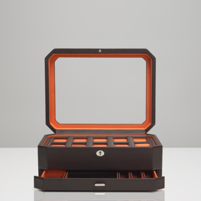 10 PIECE WATCH BOX WITH DRAWER - ORANGE & BROWN
