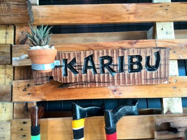 Karibu (Welcome) signage