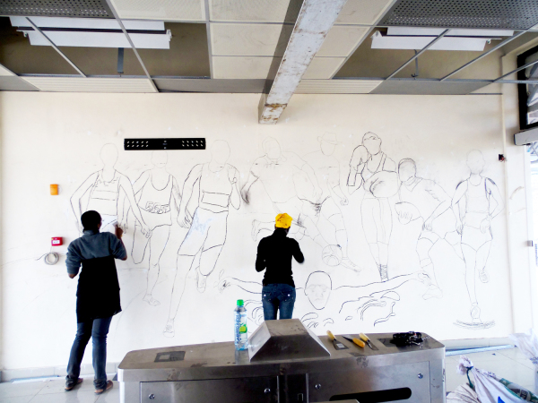 Imara Daima Railway station Mural - The sketch