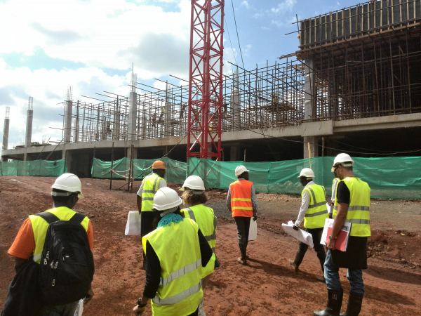 Artists visit the Garden City Mall construction site.