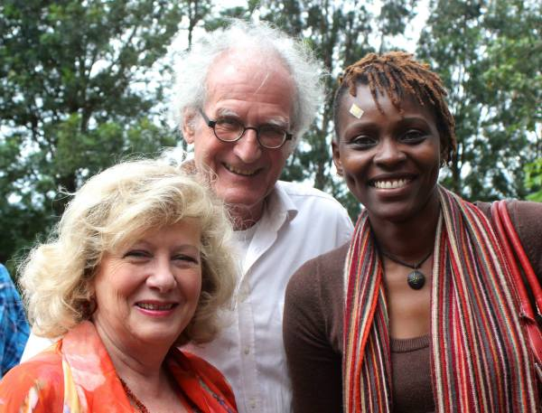 Artist Mary Collis, Gallery Owner Helmuth Rossler with Maggie Otieno