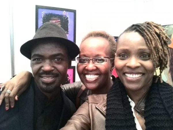 L-R, Daudi Karungi Director Afriart Gallery, Judy Ogana General manager the Godown Arts center with Maggie Otieno