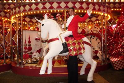 WHITE HORSE RIDER ON STILTS