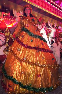 GOLDEN CHRISTMAS TREE ON STILTS