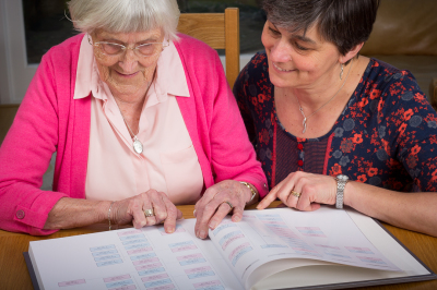Mother and daughter looking at heirloom life album, family tree