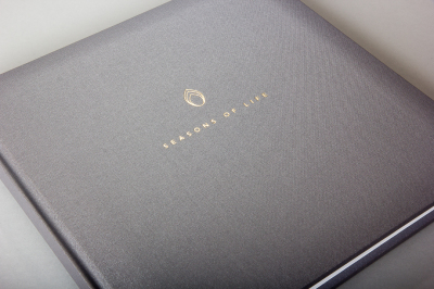 Bespoke, high quality life album, steel grey buckram cover, gold foil blocked