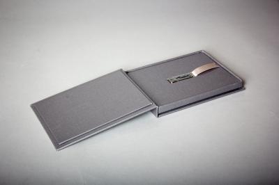 USB box, foil blocked, Buckram steel grey