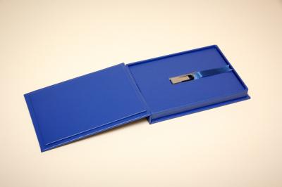 Bespoke, high quality USB memory stick box, regal buckram cover, gold foil blocked