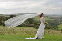 Wight Bride Isle of Wight Wedding Photography bride on brightstone downs