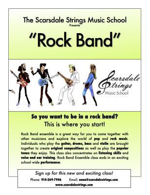Scarsdale Strings 'Rock Band' Class Flier