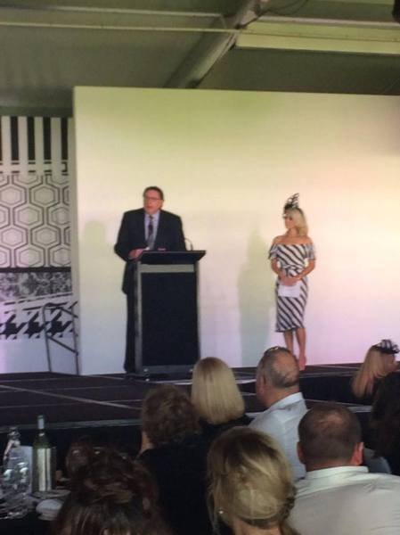 Derby Day MC Amelia Mulcahy and CEO Bob Snewin