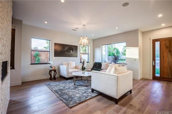 hardwood floor installation in the living room