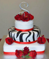 zebra roses wedding cake