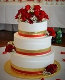 asian red-gold wedding cake
