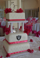 elegant square tall wedding cake