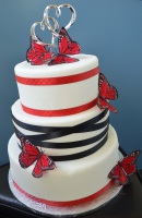ribbon black-red butterfly wedding cake