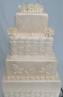 all white fondant wedding cake