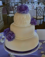 purple flower fondant wedding cake