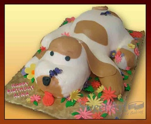 3D puppy cake with flowers