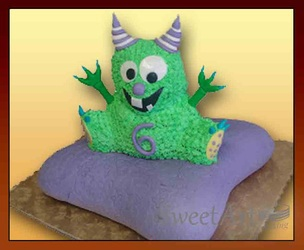 monster on pillow cake