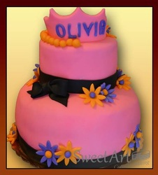 pink and black girls cake