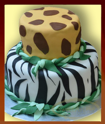 wild anymal theme zebra lion birthday cake