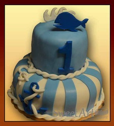 first birthday cake whale/sea theme