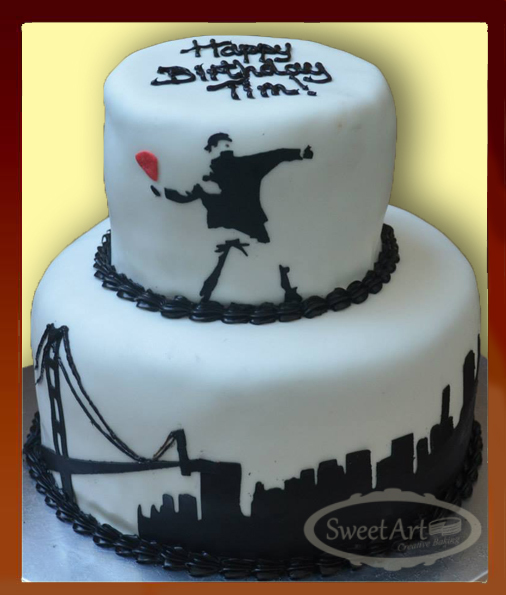 San Francisco black and white cake