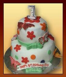 flowers girls birthday cake