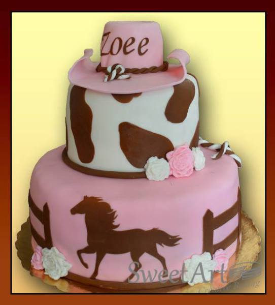 horse barn theme cake with hat western