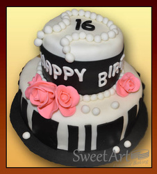 black fondant and roses birthday cake