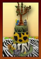Wild animal theme cake