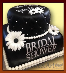 bridal shower black and white cake
