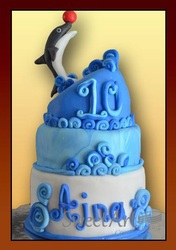dolphin sea theme cake