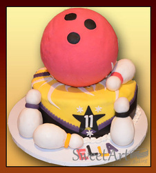 bowling theme birthday cake